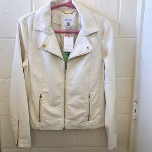Calvin Klein Faux - Leather Moto Jacket Large